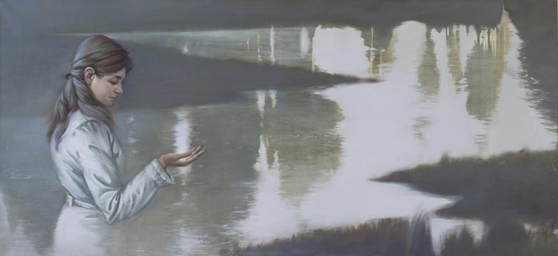 Река. Холст, масло,140х65см