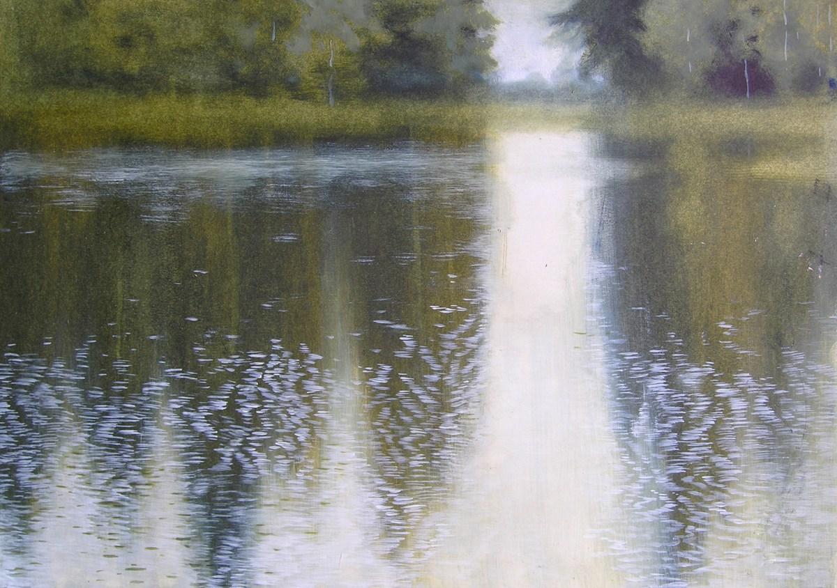 Лесное озеро. Бумага, масло, 2005г