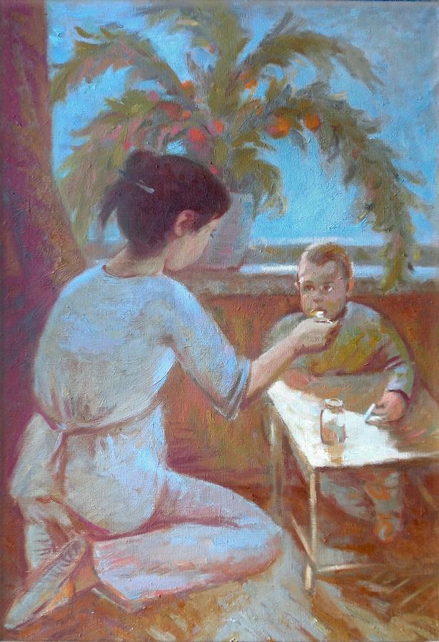 Мать и сын. Холст, масло, 47х70, 2013г