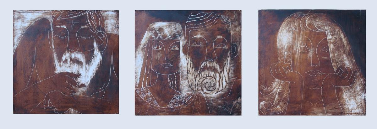Молодые. Левкас, масло, триптих, 25х25, 25х25, 25х25см, 2009г