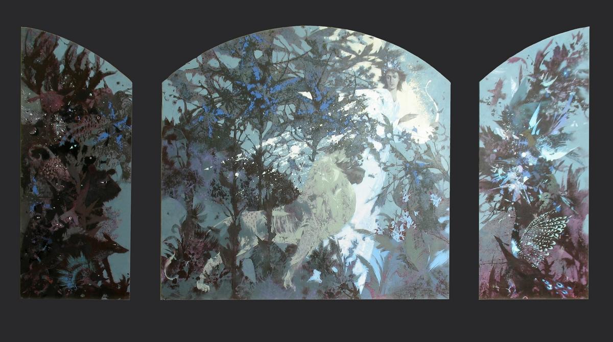 Песня Орфея. 180х60, 180х180, 180х60. Настенное паннно, левкас, акрил, 2010г