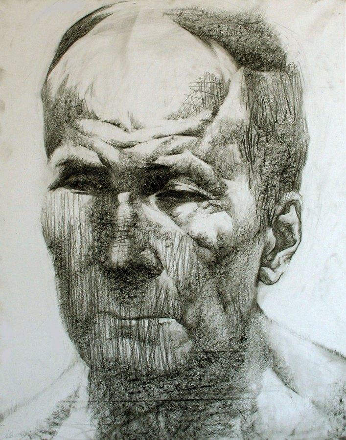 Портрет пожилого человека. Бумага, карандаш, 40х60, 2007г