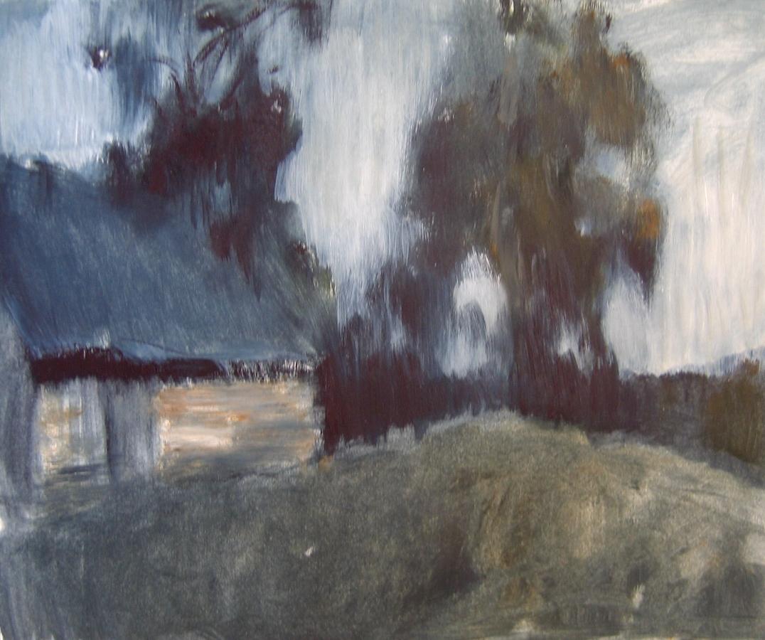 Сумерки на краю села. Бумага, масло, 20х25, 2005г