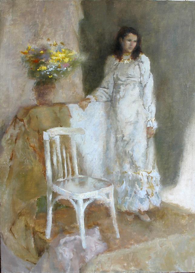 В белом платье. Холст, масло, 60х90, 2007г