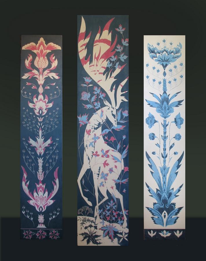Встреча с оленем. Резной левкас, триптих, 30х150, 40х180, 30х150, 2008г