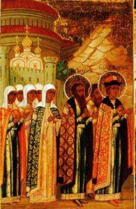 Великий князь Михаил направляется из Чернигова в Печерский монастырь в Киев