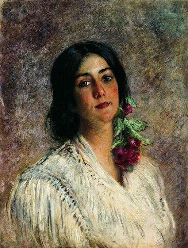 Маковский Константин Егорович [1839—1915] Женский портрет. 1880-е холст масло 64.5 х 48