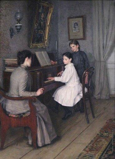 Шурыгин Арсений Николаевич [1841—1873] Урок музыки. 1860-е холст масло