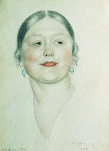 Кустодиев Борис Михайлович [1878—1927] Портрет М.Д.Шостакович. 1923 бумага графит цветной карандаш 45 х 29