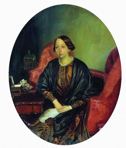 Федотов Павел Андреевич 1815—1852 Портрет Амалии Легран. 1846—1847 Холст, масло Размер 23 х 18,5