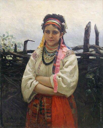 Репин Илья Ефимович [1844—1930] Украинка у плетня. 1876 холст масло