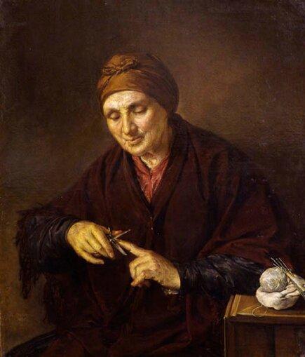 Василий Андреевич Тропинин (1776–1857) . Старуха, обрезающая себе ногти 1840 холст, масло