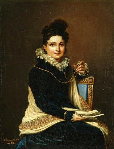 Словацкий художник Янош Ромбауэр Janos Rombauer (1782-1849) - Портрет неизвестной 1818
