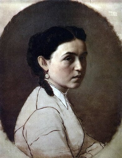 Перов Василий Григорьевич [1834—1882] Портрет Е.Э. Перовой. 1868 холст масло