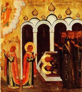 8 Видение отроковицей мужа в белых ризах, приведшего Феодулию в Киево-Печерский монастырь.