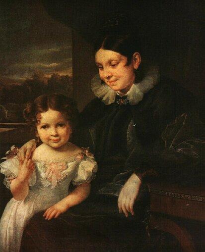Василий Андреевич Тропинин (1776-1857) Портрет В.И. Ершовой с дочерью 1831