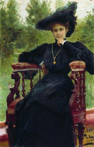 Репин Илья Ефимович [1844—1930] Портрет М.Ф.Андреевой. 1905 холст масло 134 х 85