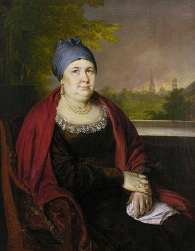 Василий Андреевич Тропинин (1776-1857) Портрет купчихи в синем повойнике 1830-e