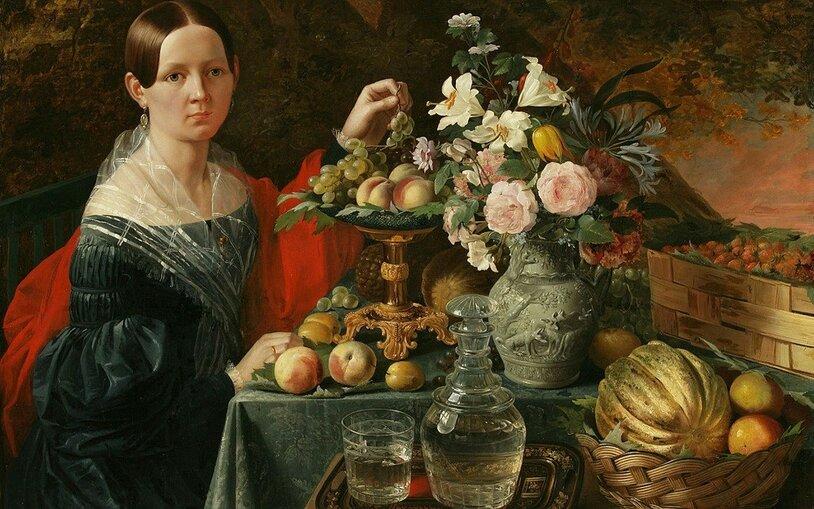 Иван Фомич Хруцкий (1810-1885) Портрет неизвестной с цветами и фруктами. 1838