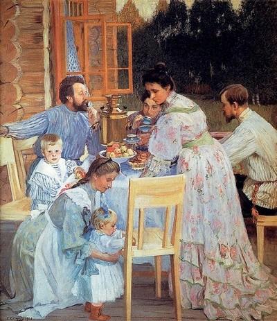 Б. М. Кустодиев. На террасе. 1906 год. Нижегородский художественный музей.