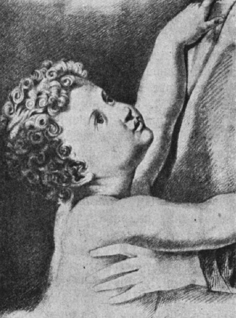 Младенец, тянущийся к матери. Бумага на картоне, итальянский карандаш.