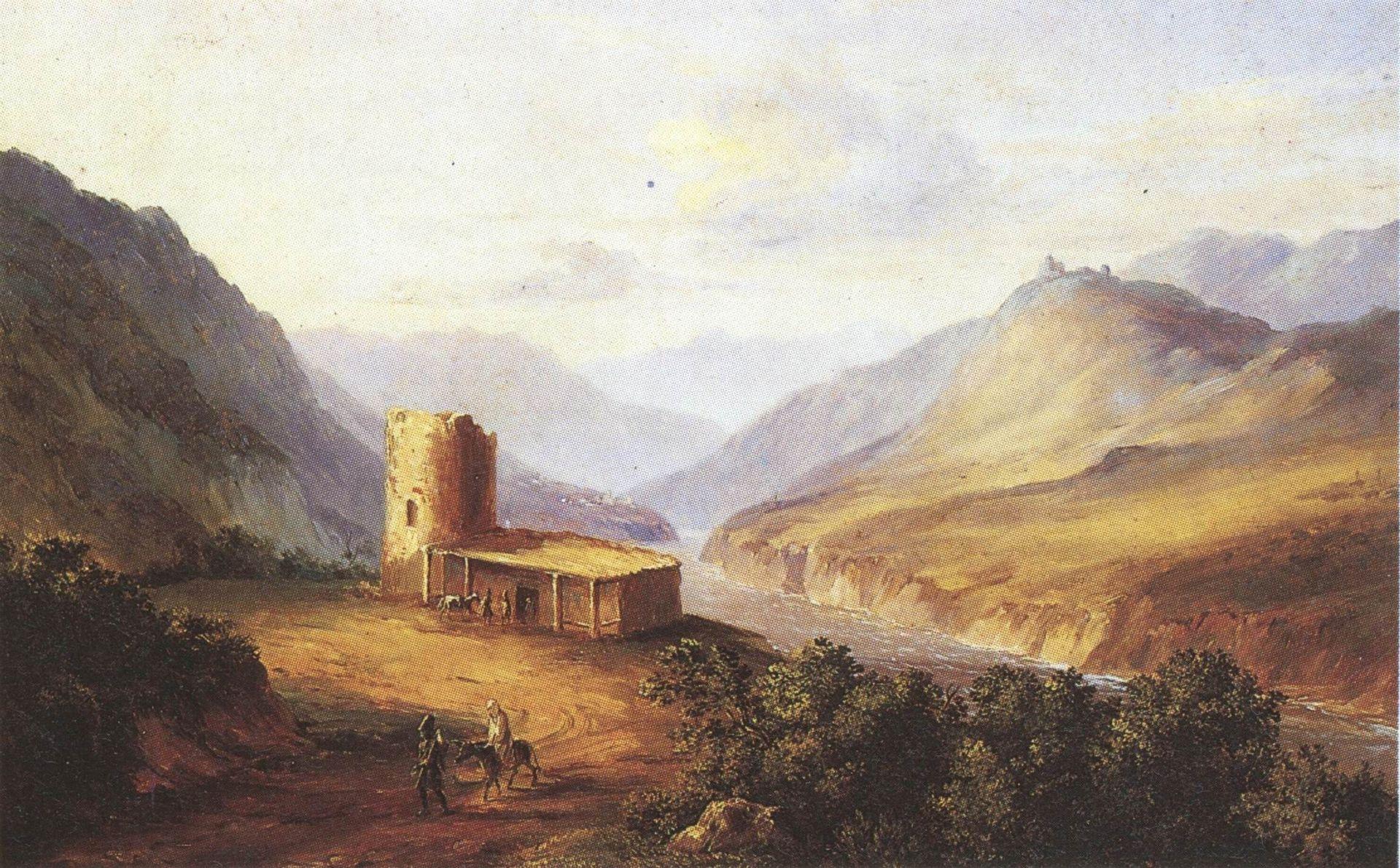 Военно-Грузинская дорога близ Мцхеты. Кавказский вид с саклей.