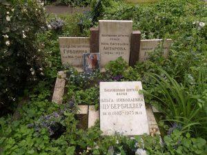 Могила О. Цубербиллер на Новодевичьем кладбище.
