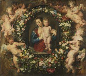 Мадонна в цветочном венке. Фигуры — Питер Пауль Рубенс, венок — Ян Брейгель Цветочный. Около 1619 г.